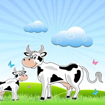 illustration of sketchy cow with mammal in field Stock Vector - 8441954