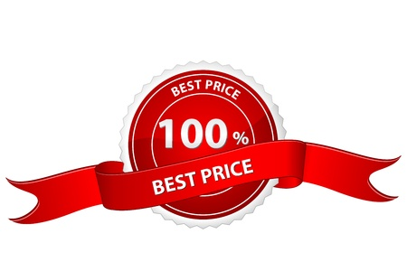 lowest: illustration of tag for best price on white background