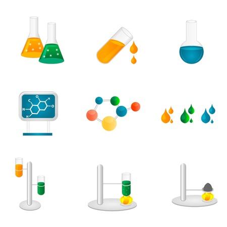 quimica organica: Ilustraci�n de los iconos de laboratorio en fondo blanco Vectores