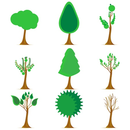 growing tree: illustration of stages of weathers on white background Illustration