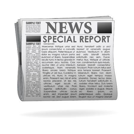 newspaper articles: illustration of special report  news paper on isolated background