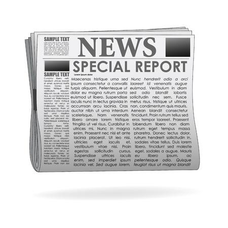 peri�dico: Ilustraci�n de papel de noticias del informe especial sobre fondo aislado Vectores
