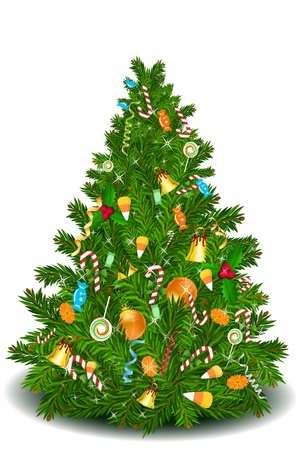 cheery: illustration of christmas tree with sweets on isolated background