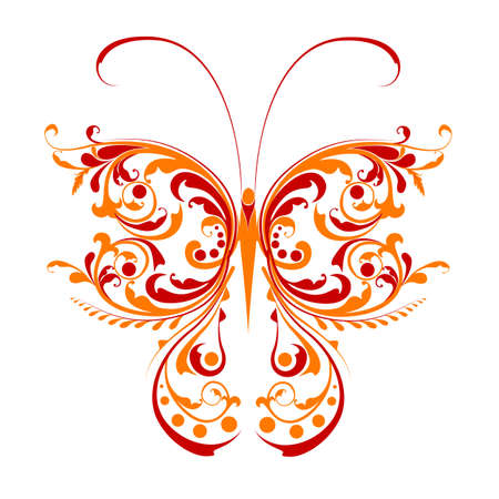 butterfly isolated: illustration of floral butterfly on isolated background Illustration