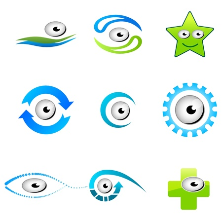 illustration of different shapes of eyes on white background Vector