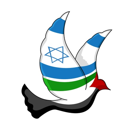 illustration of peace bird painted with israel and palestine flag on isolated background Illustration