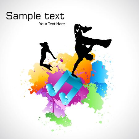 illustration of silhouette dancing on colorful grungy background Vector
