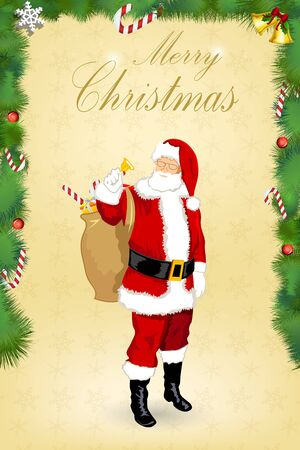 illustration of christmas card with santa on white background Vector