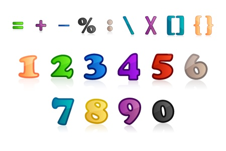 illustration of set of numbers and characters on white background Stock Vector - 8441881