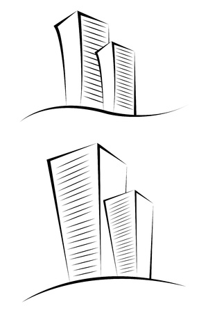 property management: illustration of sketchy buildings on isolated background