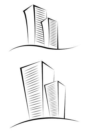 investment real state: Ilustración de edificios incompletos sobre fondo aislado