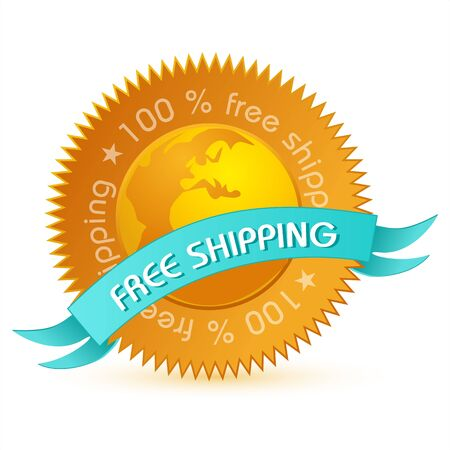 red price tag: illustration of free shipping tag on white background