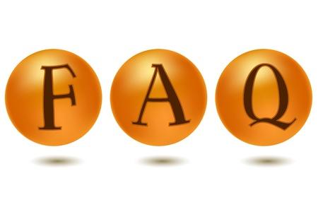 faq icon: Ilustraci�n del icono de preguntas m�s frecuentes sobre fondo blanco Vectores