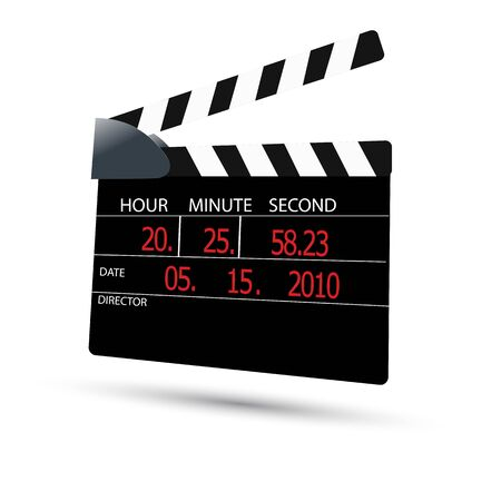 illustration of clapper board on white background Vector