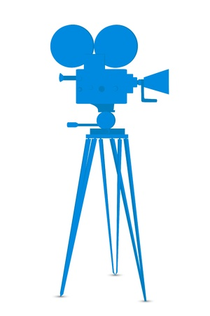tripods: illustration of movie camera on white background