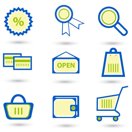 illustration of shopping icons on white background Stock Vector - 8441691