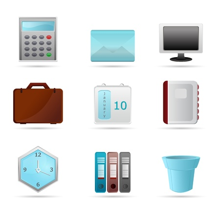 illustration of business icons on white background Vector