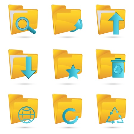 illustration of different folders icon on white background Vector