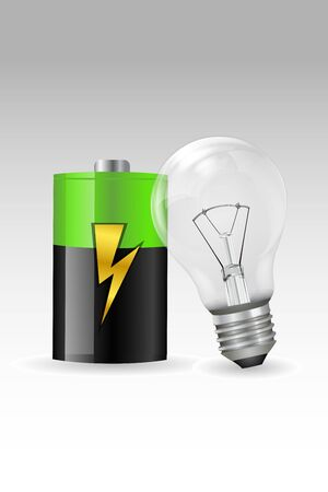 illustration of electronic bulb with battery on white background Vector