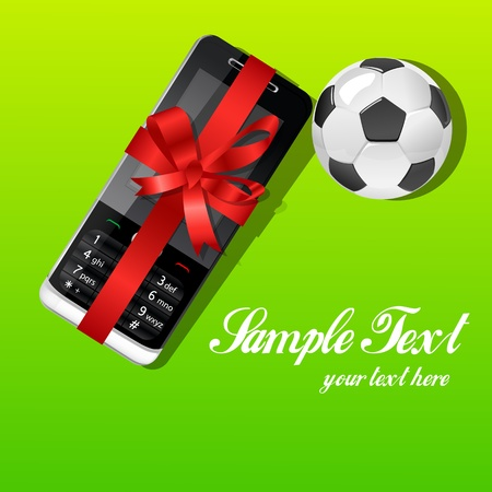 illustration of gift card with mobile and soccer Vector