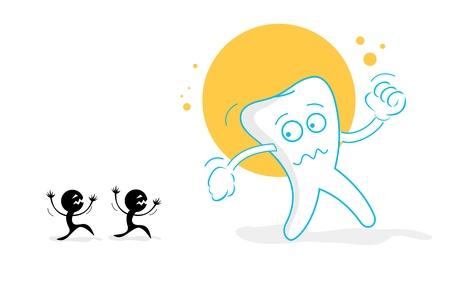illustration of sad teeth on isolated background Vector