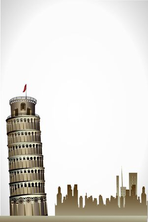 illustration of leaning tower of pisa on white background Векторная Иллюстрация