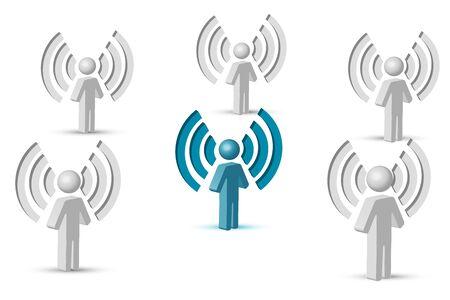 omroep: illustratie van wifi-symbool met mensen op geïsoleerde achtergrond Stock Illustratie