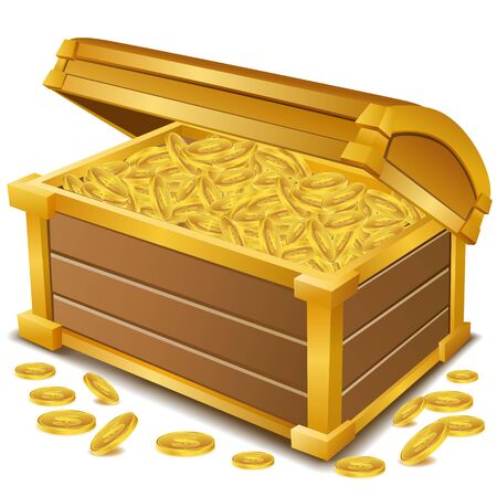 illustration of treasure  chest with coins on white background Vector