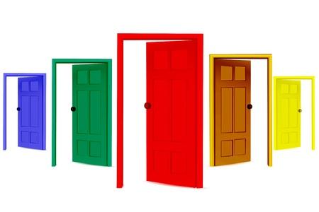 illustratie van kleurrijke open deuren op geïsoleerde achtergrond