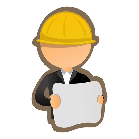 security company: illustration of architect on white backghround