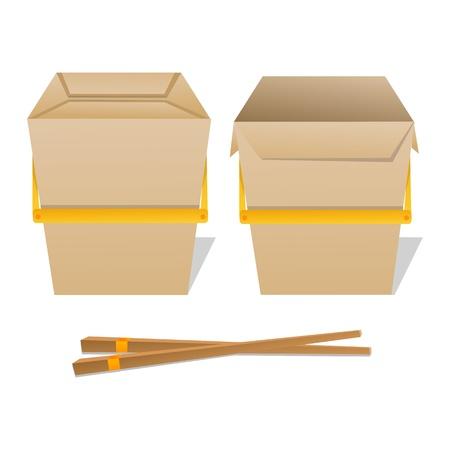 chinese fast food: Ilustraci�n del cuadro de fideos en fondo blanco