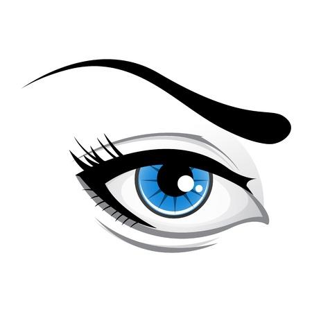 eyebrow makeup: illustrazione di lady occhio su sfondo bianco