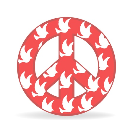 illustration of sign of peace with bird on white background Vector
