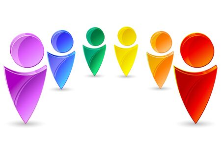 person icon: illustration of colorful human icons on isolated backgrouund