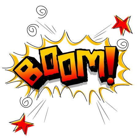 boom: illustration of boom with stars on white background Illustration