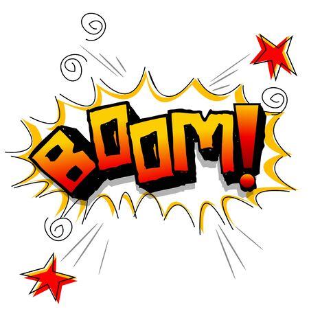 dinamita: Ilustraci�n del auge con estrellas sobre fondo blanco