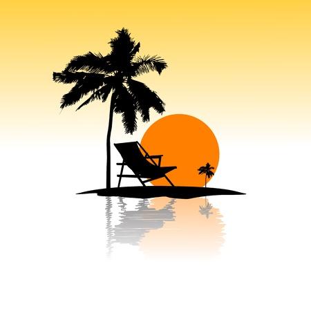 Ilustración de tarjeta de playa de mar de fondo aislado