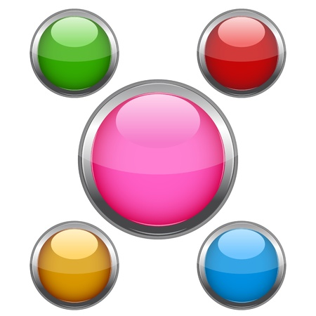 illustration of multi colored buttons on white background Stock Vector - 8441949