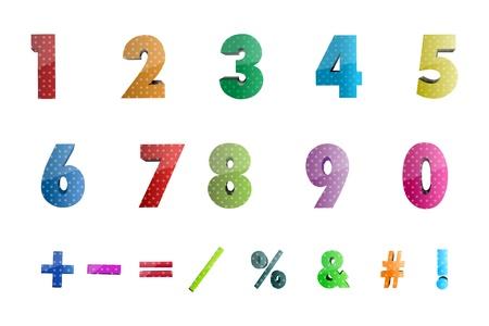 simbolos matematicos: Ilustraci�n de los n�meros de matem�ticas con iconos sobre fondo blanco Vectores