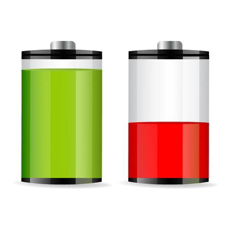 battery charging: illustration of battery levels on white background