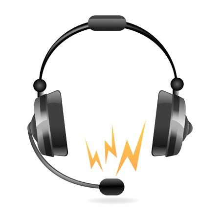 telephone headsets: Ilustraci�n de cabeza de tel�fono icono sobre fondo blanco