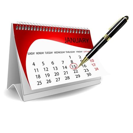 illustratie van kalender met pen op witte achtergrond Vector Illustratie