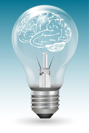 illustration of brain in electric bulb on white background Vector