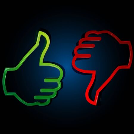 disapprove: illustration of thumbs up and down on white background