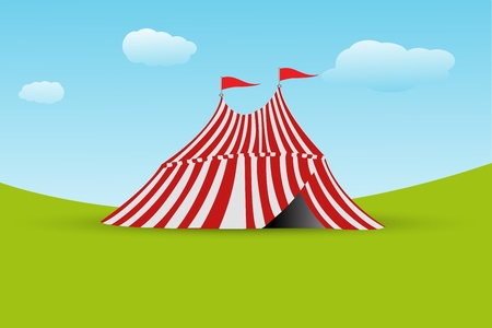 illustration of tent with flag on white background Illustration