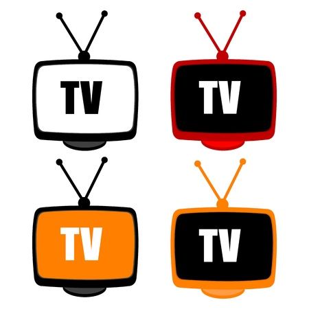 illustration of tv icons on white background Vector