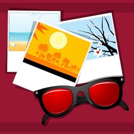 eye wear: illustration of summer eye wear with natural  pictures on white background