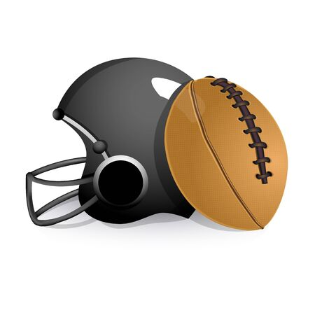 football helmet: illustration of sports helmet with rugby ball on isolated background Illustration