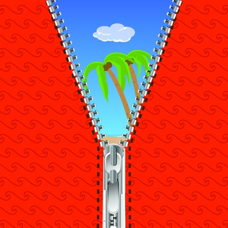 tollas: illustration of open zip with nature background Illusztráció