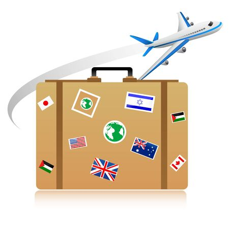shipping by air: illustration of shipping icons on white background Illustration